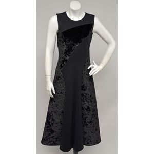DKNY Black Velvet Pieced Sleeveless Flared Dress 4